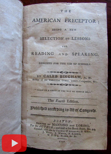 American Preceptor Education 1797 Bingham rare book Reading Writing schools