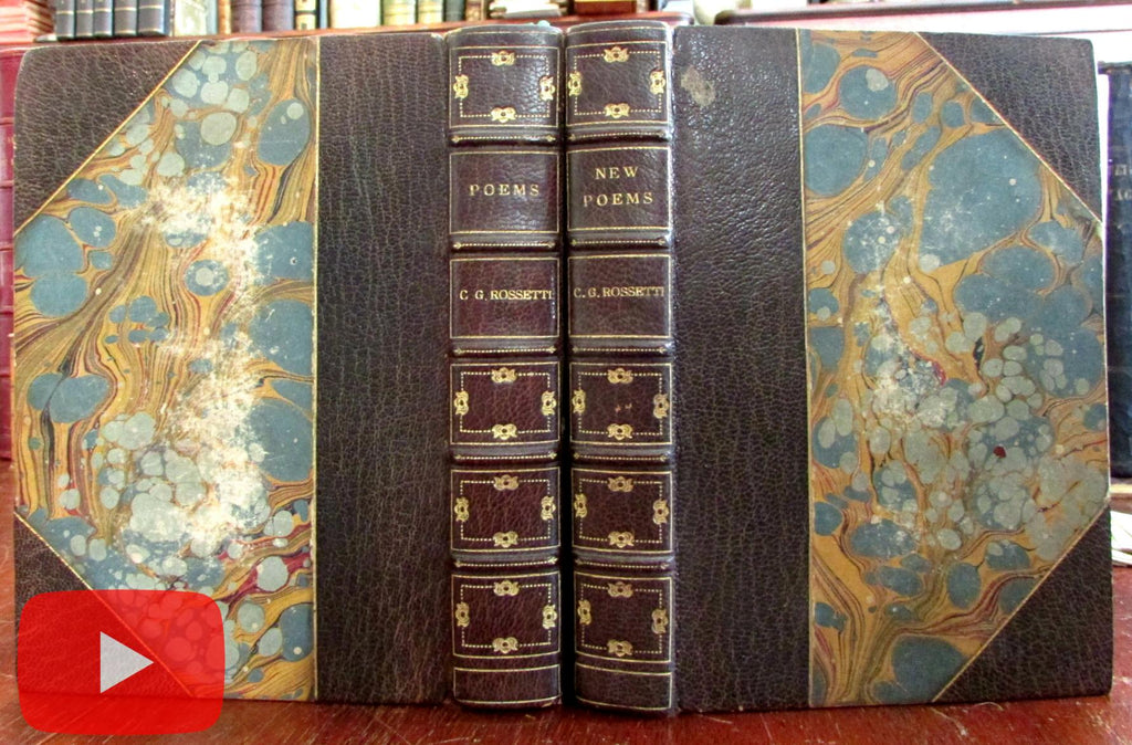 C.G. Rossetti Poems & New Poems 1901 beautiful leather books 2 vol. gilt morocco