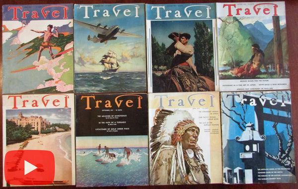 World Travel 1937-9 Art Deco style magazine lot x 8 great covers ads surfing Hawaii