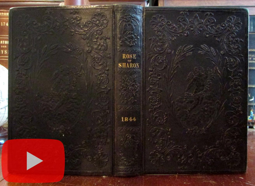 Embossed leather book 1844 Rose of Sharon cherubs Tompkins Mussey splendid