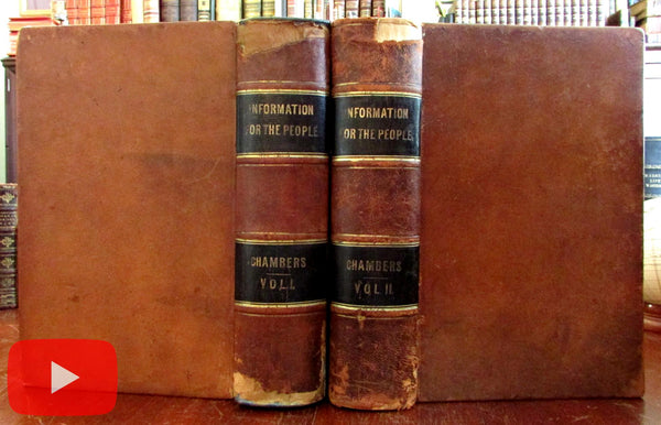 Australia Van Diemens Land emigration 1855 Chambers Encyclopedia 2 vol leather set