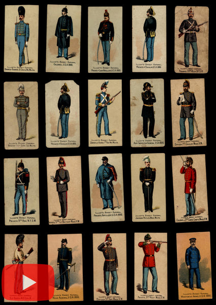 Tobacco cards c.1888 Kinney Military uniforms lot x 73 assorted cards cigarette