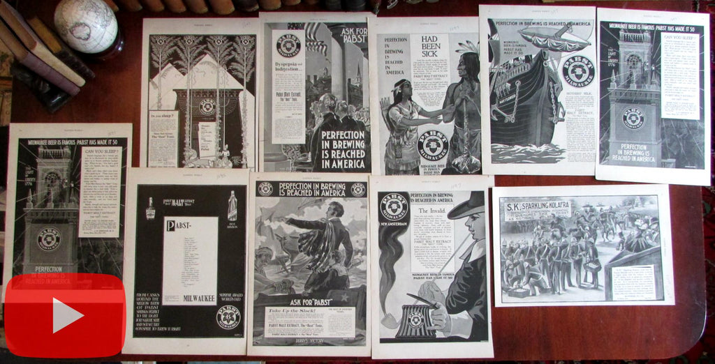 Pabst Beer Advertising 1895-8 lot x 10 original scarce large pictorial paper Ads