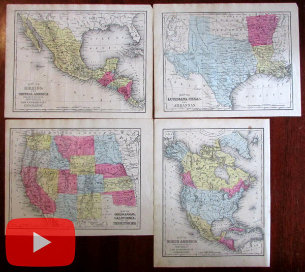 Texas map 1872 American Western U.S. states nice lot of 4 maps North America