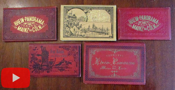 Germany Rhine River souvenirs c.1890's lot x 5 decorative travel view books