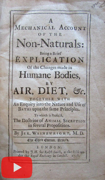 Medicine 1718 Water Cures Homeopathy Naturopathic Air Bathing disorders diet