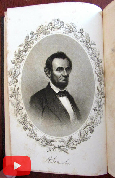 Abraham Lincoln 1865 Memorial Biography engraved portrait Hanaford book