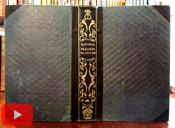 Artistic American Book Bindings 1840's gilt leather National Preacher Bidwell periodical