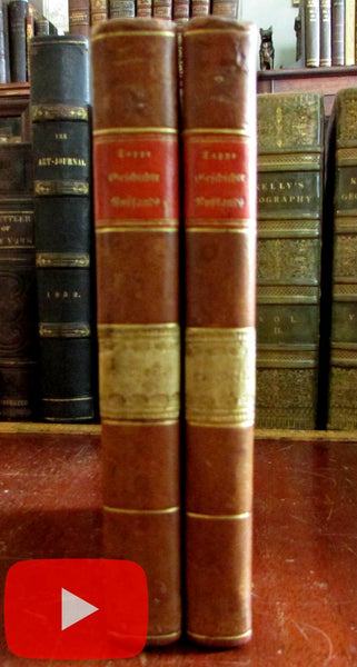 History of Russia 1828-31 by Nicolai M. Karamsin 2 vol. set German leather books