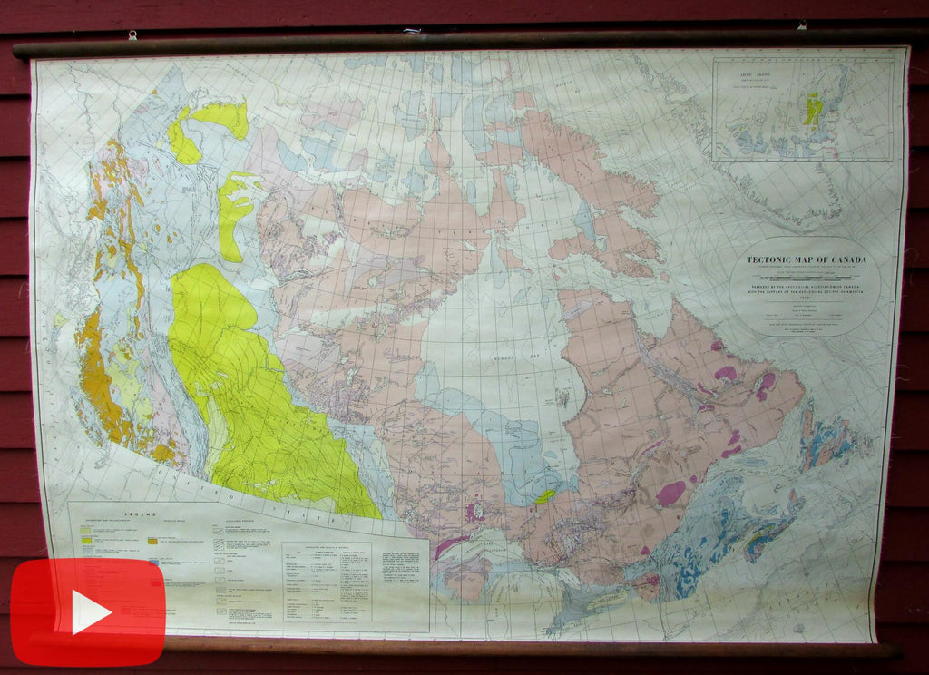 Canada Geological Tectonic Wall Map 1950 huge rare 5' wide British Columbia