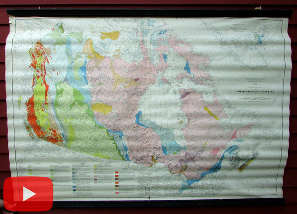 Canada Geological Survey wall map 1945 huge linen backed rare map Mines Geology