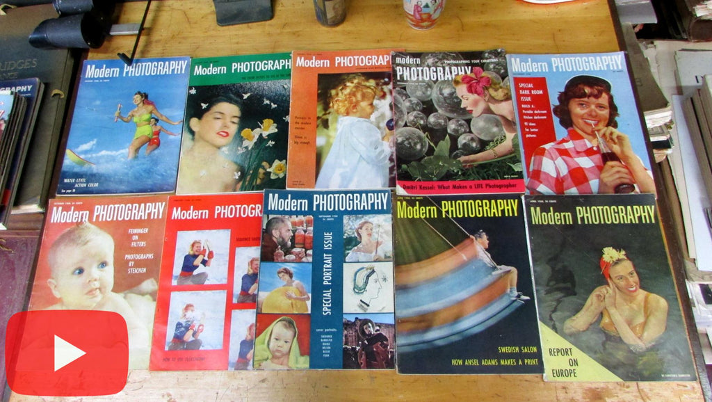 Modern Photography 1950 lot x 10 issues Minicam magazine great ads & b&w photos