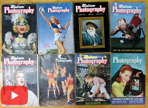 Minicam Photography magazine 1943-49 Lot x 8 issues great ads images scarce