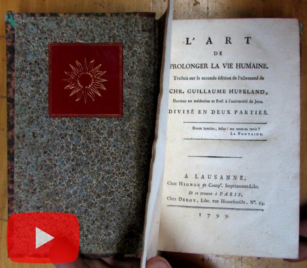 Prolonging Human Life by Hufeland 1799 Switzerland rare book Arpad Plesch