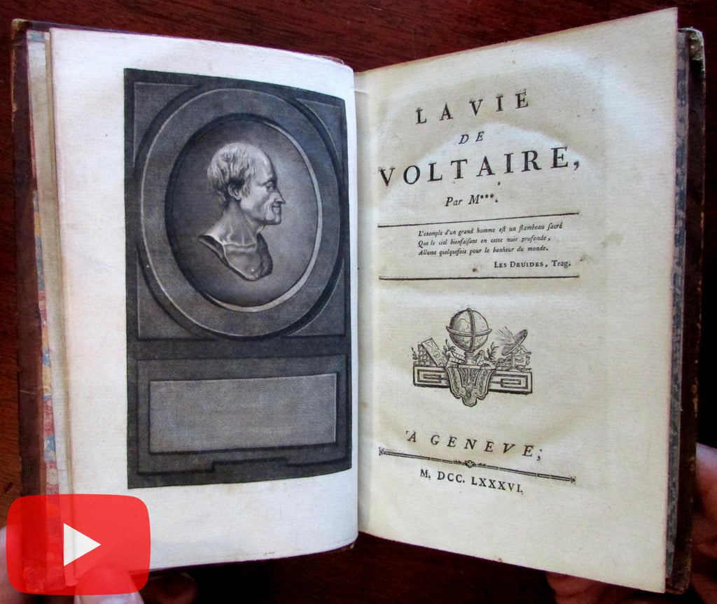 Life of Voltaire 1786 Geneva beautiful leather book engraved portrait by Vernet