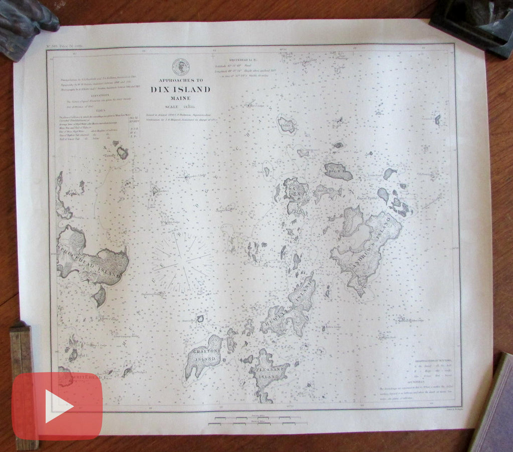 Dix Island Maine 1874 coastal chart old map detailed scarce heavy paper
