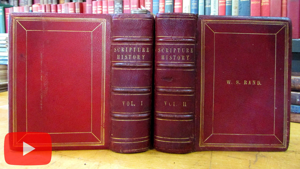 Scripture History Christianity 300 steel engravings c.1850's Virtue leather set by Howard