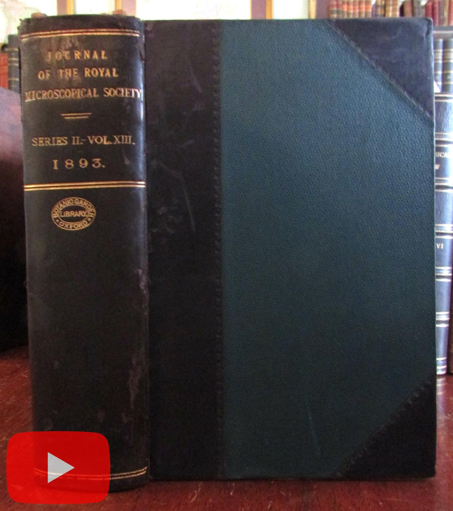 Microscopes Journal Royal Microscopic Society 1893 complete year leather book plates
