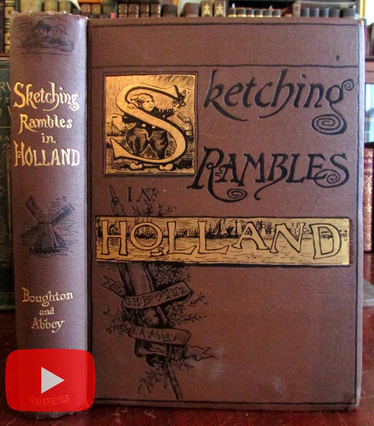 Sketching Rambles in Holland 1885 Boughton Abbey tissue paper frontis decorative book