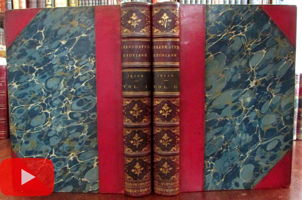 Celebrated Etonians England 1875 Jesse set 2 vols gilt leather books beautiful