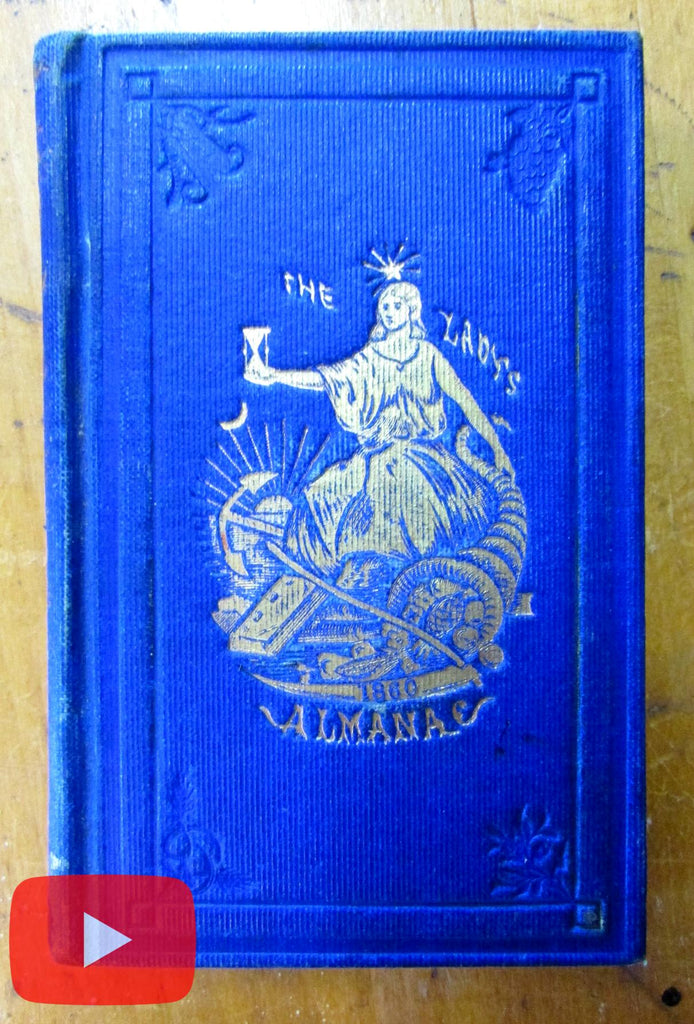 Lady's Book 1860 Shepard beautiful blue cloth gilt stamped & wood cuts advertising