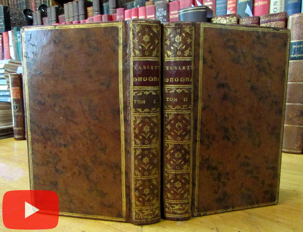 Geographical Dictionary 1755 pocket set 2 vols splendid gilt leather books Latin poets