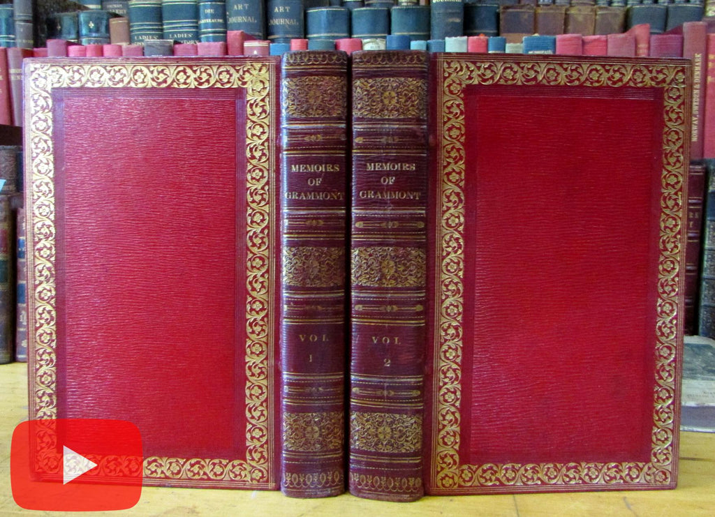 Count Grammont Memoirs 1811 gorgeous morocco leather set book 64 portrait plates