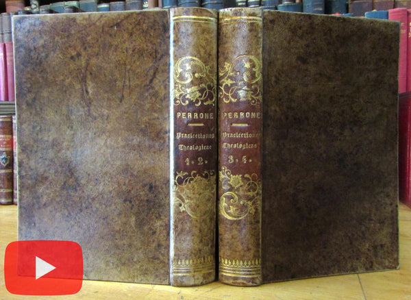 Joannes Perrone Jesuit Latin Theology 1850 European gilt leather book set beautiful