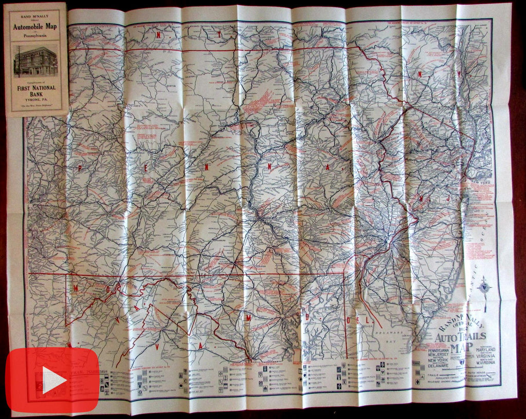 Automobile road map Pennsylvania 1922 Tyrone First National Bank huge symbols cars