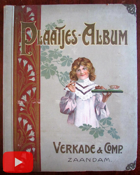 Verkade Dutch Biscuits c.1903 Album #3 w/ 144 chromo trade cards complete A+