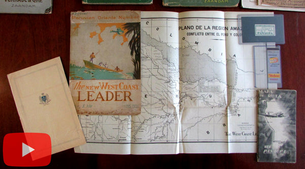 Lima Peru aviation maps 1933-1950 aviation cartography lot x 5 items Columbia