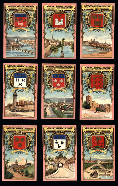 French Art Nouveau Chocolate Guerin-Boutron trade cards c. 1900 lot x 18 city views
