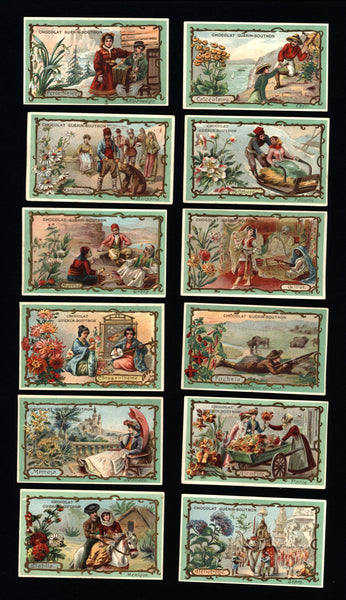 World Cultures Ethnic Types c. 1900 Art Nouveau chocolate chromolithographed cards