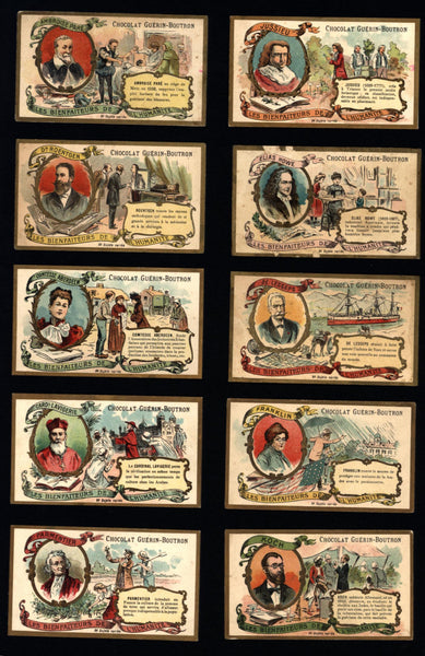Trade cards chocolate France c.1900 Chocolat Guerin Boutron Famous People lot x 30