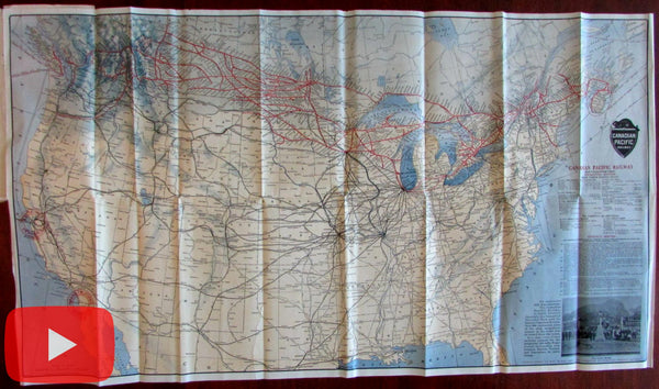 Canadian Pacific Railway c.1915 large folding route map within promotional brochure