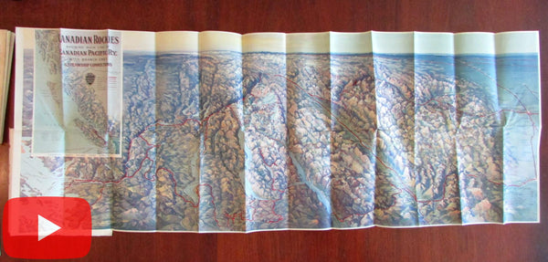 Canadian Rockies Railway Line Promotional birds-eye view map c. 1910 Seattle Vancouver