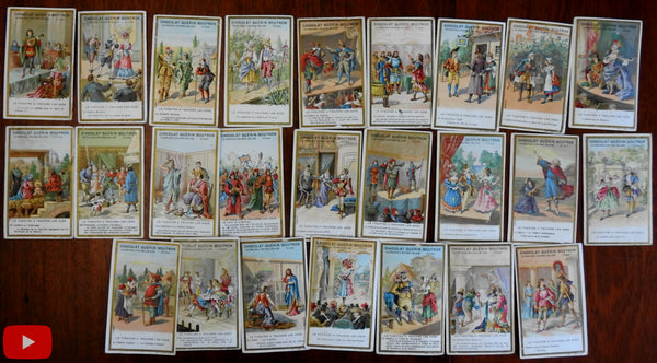 Theater Theatre chocolate cards lot x 26 Chocolat Guerin-Boutron c.1905 chromos