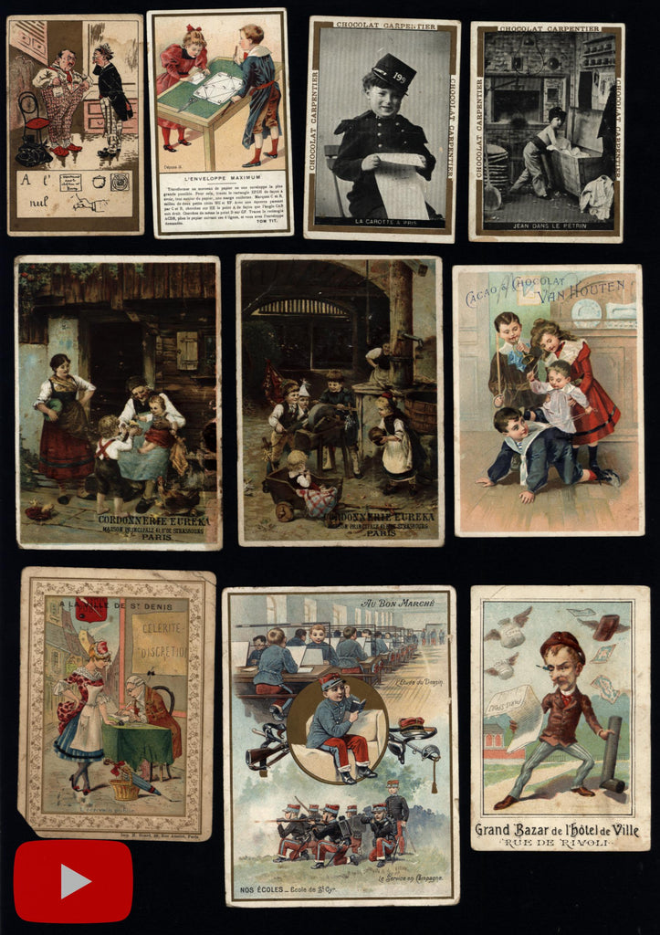 European chocolate trade cards c. 1900-10 Holland France lot x 35 Art Nouveau style