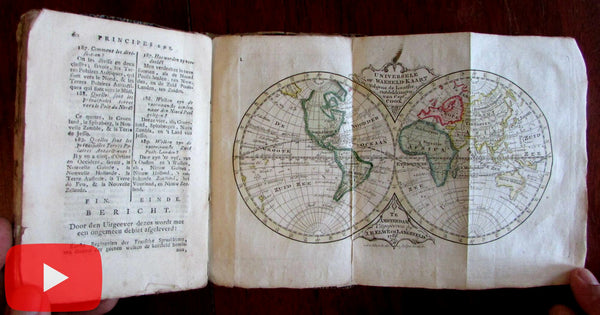 Pocket World Atlas 1785 Elwe Amsterdam rare Geography w/ 5 continent maps
