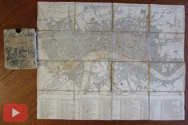 London city plan 1802 Wilkinson folding linen backed pocket map slipcase