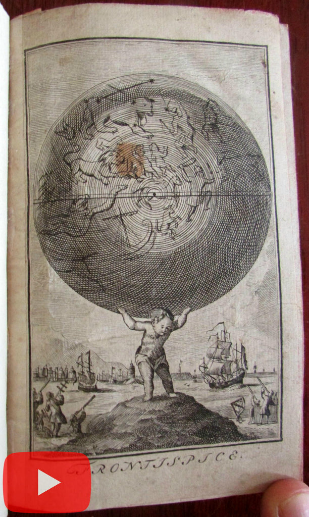 World Atlas 1793 pocket rare Dutch geography Juveniles 22 hand color maps celestial