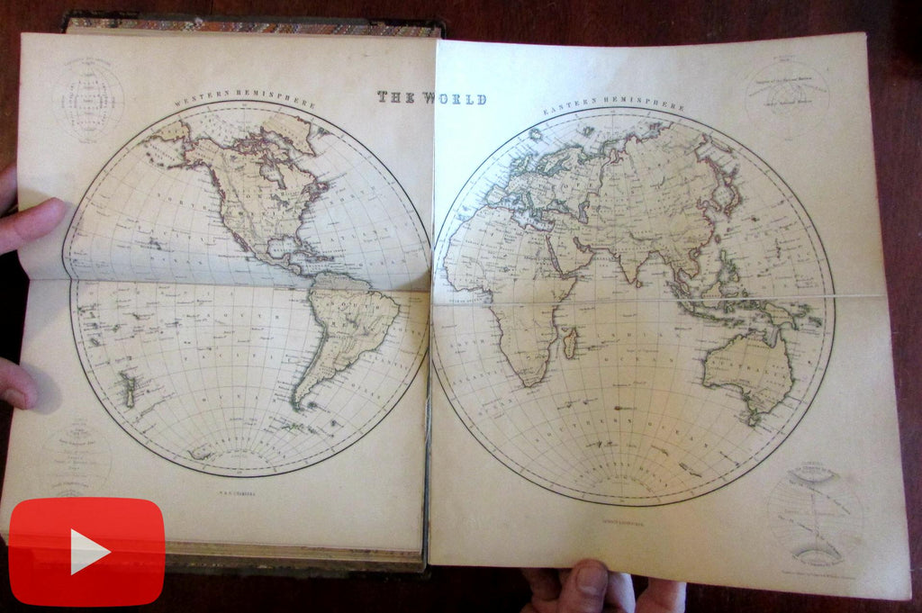 Chambers Parlour Atlas of World 1856 complete 36 maps original binding scarce