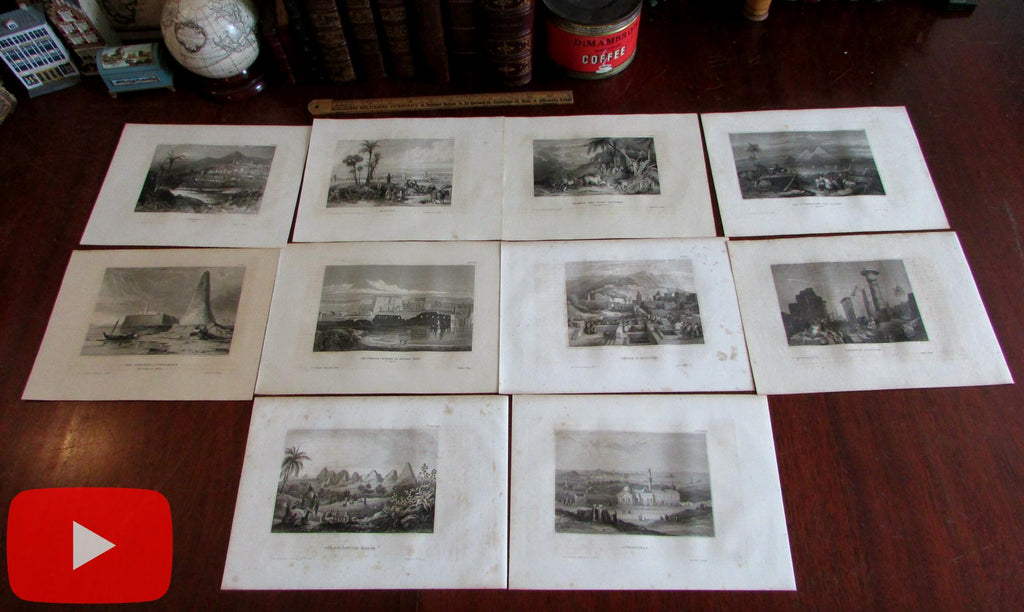 North Africa Ancient Egypt Morocco lot x 10 engraved prints c.1840-50 Meyer
