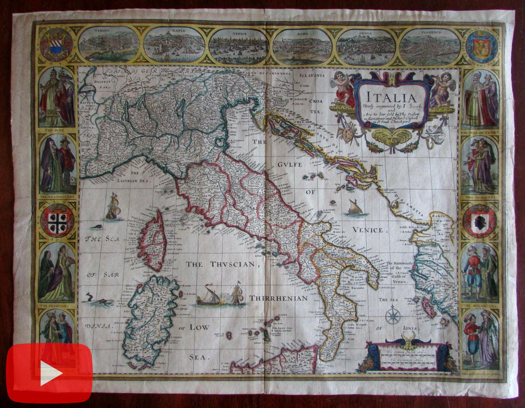 Italy Italia 1676 Speed map carte-a-figures beautiful antique map old color nice example