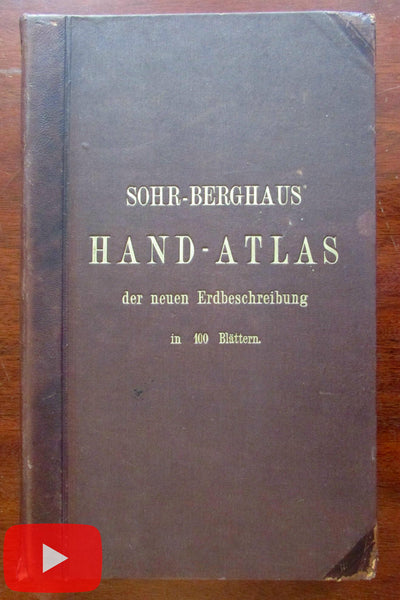 World Atlas 1885 Sohr-Berghaus 101 large color maps complete leather book
