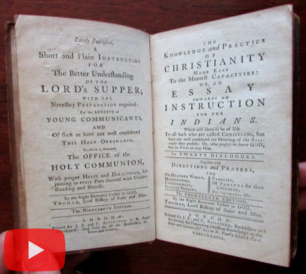 Religious book intended to convert American Indians 1787 British Plantation colonies