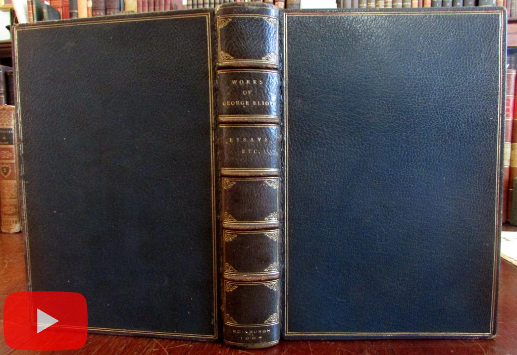 George Eliot Essays Note-Book 1st Edition 1884 fine gilt leather book Blackwood