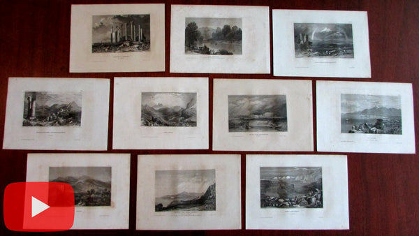 Middle East Arabia Syria Jerico Ararat Lot x 10 engraved prints c.1840-50 nice views