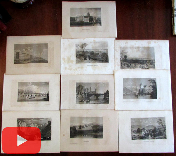 England United Kingdom c.1840's engraved views lot x 10 city birds-eyes castles