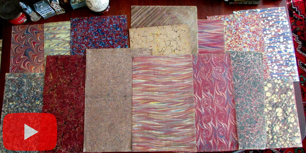 Marbled Paper 19th century lot x 20 large oversized sheets all different very nice group